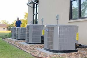 Several AC units setup at a place of business